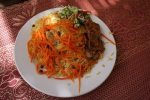 Lunch - the most famous Afghan dish of lamb, rice, raisins and carrots.